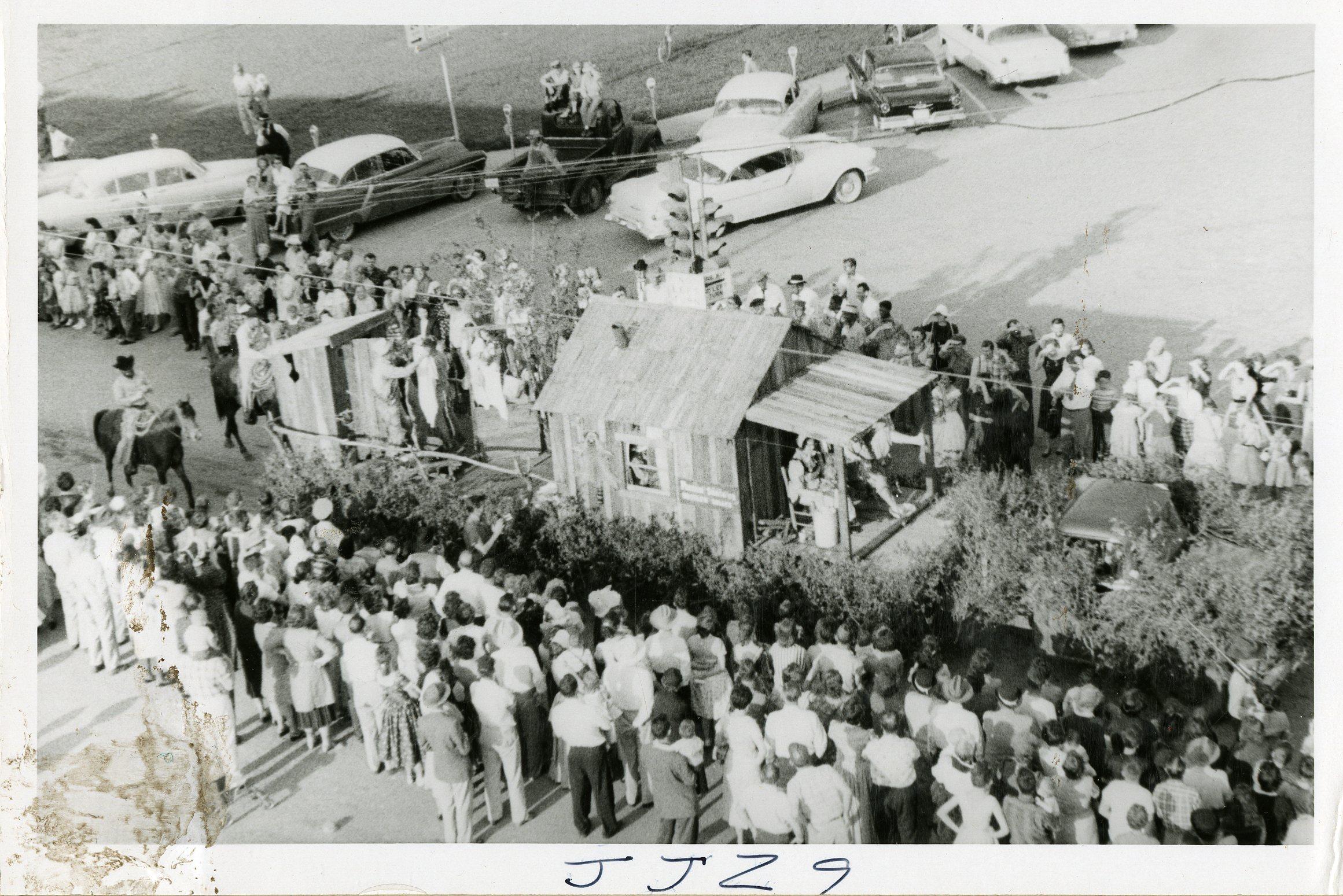 Ponder Hustlin' Belles' First Prize winning float in the Denton Centennial Parade.